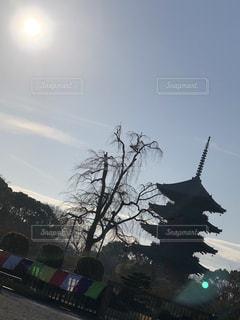 空,京都,太陽,雲,光,観光,朝焼け,逆光,東寺