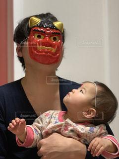 赤ちゃん,鬼,節分,怖い,不安,表情,10ヶ月,パパ鬼