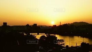 宍道湖斜陽の写真・画像素材[2866381]