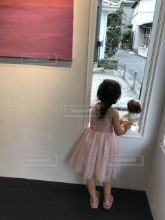 ピンク,窓,ドレス,こどもべや