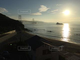 風景,海,空,太陽,朝日,光,海に架かる橋