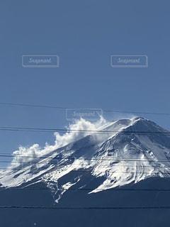 空,雪,太陽,晴天,青,山,光,富士