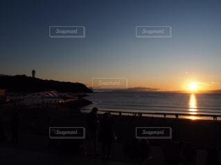 海,空,太陽,ビーチ,夕焼け,夕暮れ,水面,海岸,光,浜辺,江ノ島