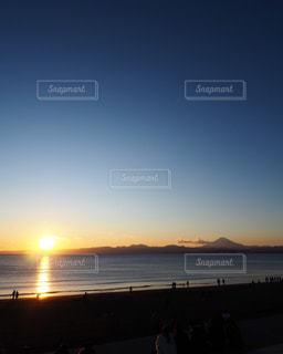 海,空,富士山,太陽,ビーチ,夕焼け,海岸,光,浜辺,サンセット,日の入