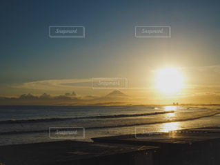 自然,海,空,富士山,屋外,太陽,ビーチ,雲,砂浜,夕暮れ,海岸,光