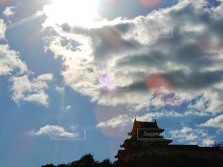 空,太陽,雲,城,シルエット,光,キラキラ,和歌山城,和歌山,パワー,エナジー,シャイン