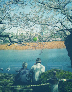水辺の老夫婦の写真・画像素材[1450924]