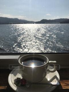 海,空,コーヒー,太陽,水面,光,マグカップ,カップ,眺め,コーヒー カップ