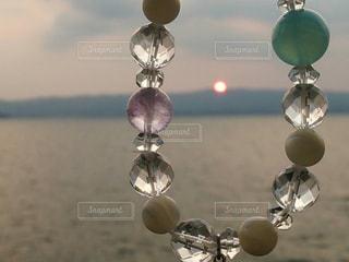海,空,夕日,太陽,光,ブレスレット,明るい