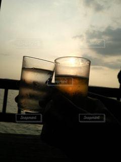 風景,海,空,夕日,太陽,ガラス,光,外,ビール,ドリンク,アルコール
