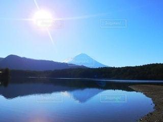 自然,風景,空,富士山,湖,太陽,水面,光