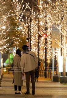 女性,男性,恋人,友だち,2人,風景,夜,夜景,屋外,樹木,イルミネーション,人,明るい,アンバサダー,グランフロント大阪,シャンパンゴールド,街の夜