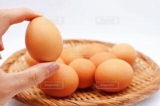 赤卵を持っているの写真・画像素材[3696465]