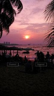 海,空,夕日,太陽,ビーチ,砂浜,海岸,光,ヤシの木,パーム,パタヤビーチ