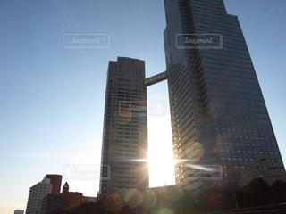 風景,空,太陽,夕暮れ,光,都会,高層ビル,聖路加,隅田川から,聖路加ガーデン