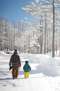 家族,2人,風景,アウトドア,冬,スポーツ,雪,親子,樹木,人物,人,スキー,ゲレンデ,レジャー,長野,スキー場,スノーボード,冷