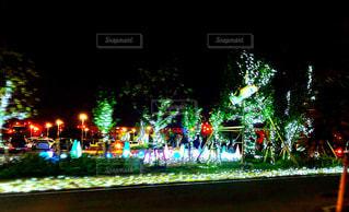夜にライトアップされた都市の写真・画像素材[2856969]