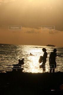 家族,海,空,太陽,ビーチ,夕暮れ,光,Hawaii
