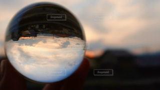 空,夕日,太陽,景色,ガラス,光,レンズボール