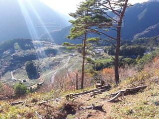 自然,風景,空,太陽,山,光,丘,樹木,草木,眺め,山腹