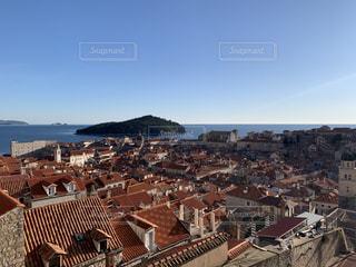 風景,空,建物,太陽,赤,ヨーロッパ,山,光,家,旅行,クロアチア,東欧