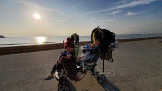 風景,空,太陽,海岸,光,幼児,双子