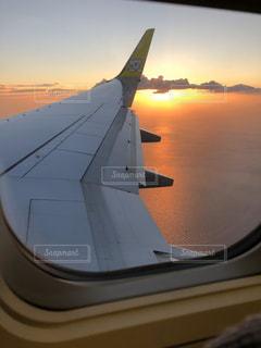海,空,太陽,夕暮れ,飛行機,光,航空機,フライト