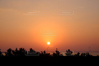 風景,海,空,太陽,工場,光,煙,煙突,日の出