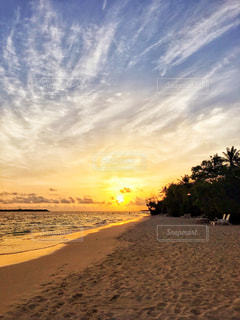 風景,海,空,夏,モルディブ,海外,太陽,ビーチ,砂浜,夕暮れ,海岸,光,旅行,リゾート