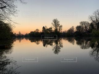 自然,風景,空,湖,水面,反射,光,樹木,日の出