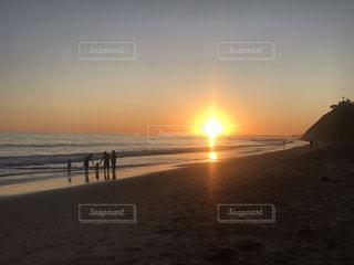 海,空,太陽,ビーチ,砂浜,夕暮れ,光