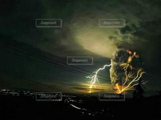 空,夜空,光,雷,火山,噴火