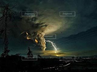 空,夜,夜空,光,雷,火山,噴火