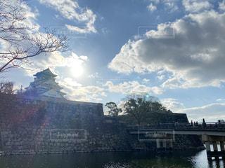 空,屋外,大阪,太陽,雲,綺麗,光,大坂城,日中,おしゃれ