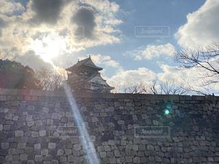 空,建物,屋外,太陽,光,大坂城,クラウド,おしゃれ