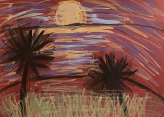 風景,空,太陽,南国,カラフル,夕焼け,アート,光,絵画,ヤシの木,夕陽,図面