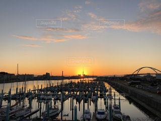 風景,空,太陽,船,水面,光,日の出