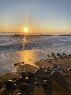 海,空,太陽,光,初日の出,いわき,波立海岸