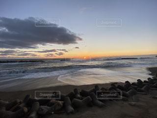 空,太陽,海岸,光,日の出,いわき,波立海岸