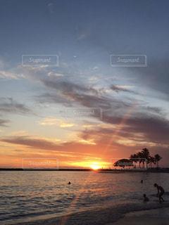 自然,風景,海,空,夕日,太陽,ビーチ,夕暮れ,光,旅行