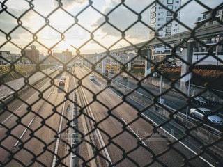 フェンスと夕日の写真・画像素材[2887832]