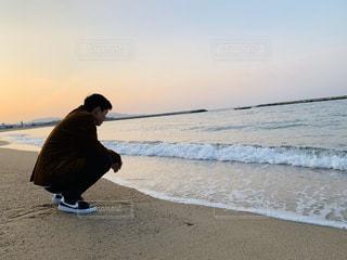 男性,風景,海,空,太陽,ビーチ,海岸,光