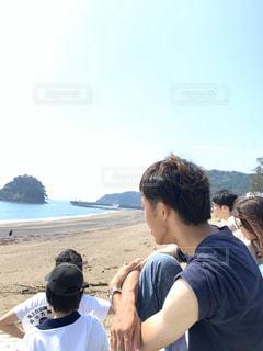 友だち,5人以上,風景,空,太陽,ビーチ,海岸,光,人