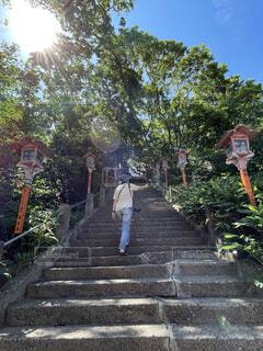 階段を登る人の写真・画像素材[4737558]
