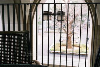 フェンスの前に座っている椅子の写真・画像素材[2906269]
