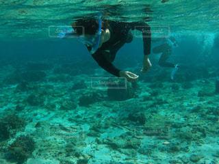 水をかき分ける人の写真・画像素材[2906695]
