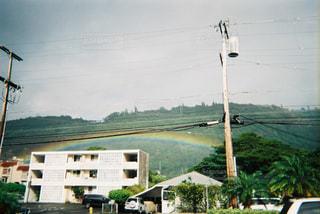 屋根にかかる虹の写真・画像素材[2906712]