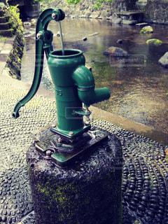 緑のベンチのクローズアップの写真・画像素材[2912709]