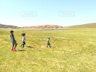 草原を走る子ども達の写真・画像素材[4134324]