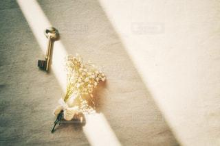 鍵と花束の写真・画像素材[3033485]